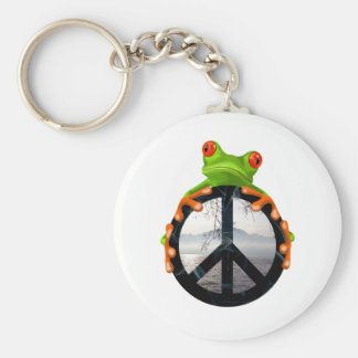 peace frog1 basic round button key ring