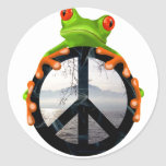 peace frog1 round sticker