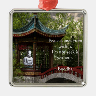 Peace From Within, Buddha Quote Christmas Ornament