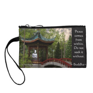 Peace From Within, Buddha Quote Coin Purse