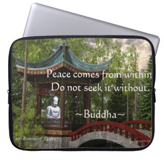 Peace From Within, Buddha Quote Laptop Computer Sleeves