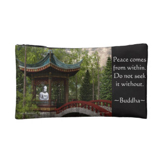 Peace From Within, Buddha Quote Makeup Bags