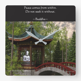 Peace From Within, Buddha Quote Square Wall Clock