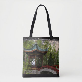 Peace From Within, Buddha Quote Tote Bag