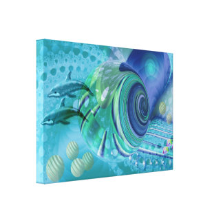 Peace ful Ocean Mixed media art Canvas Print