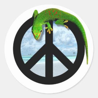 PEACE GECKO CLASSIC ROUND STICKER