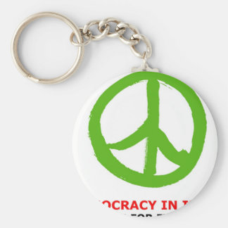 peace green basic round button key ring
