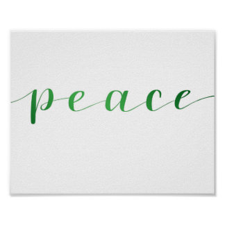 Peace- green foil effect poster