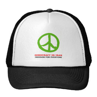 peace green mesh hat