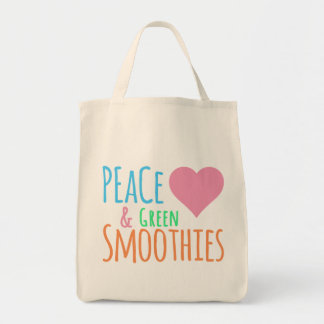 Peace Green Smoothie Love Grocery Tote Bag