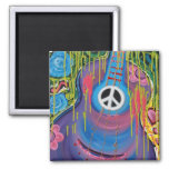 Peace Guitar Square Magnet