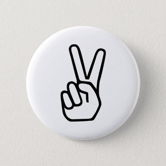 Peace Hand Sign 6 Cm Round Badge