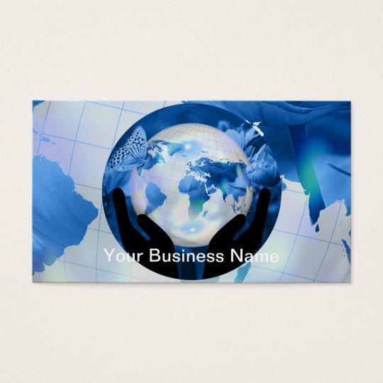 Peace Hands Holding Globe Blue Flowers Butterflies Business