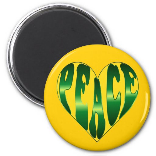 Peace Heart in gold and green fridge magnet