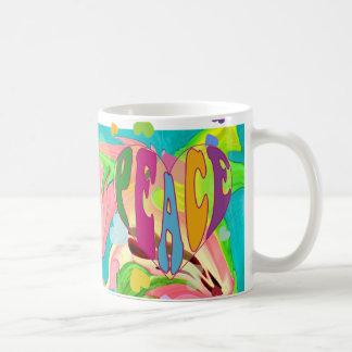 peace heart classic white coffee mug