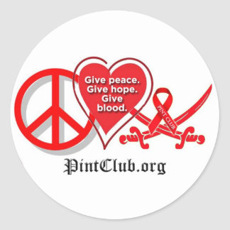Peace Heart PintClub Round Stickers