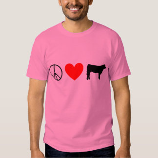 peace, Heart, steer cow Tshirts