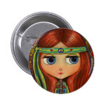 Peace Hippie Doll Button