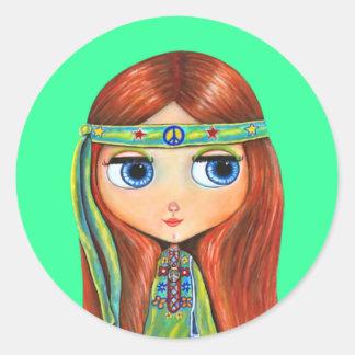 Peace Hippie Doll Sticker