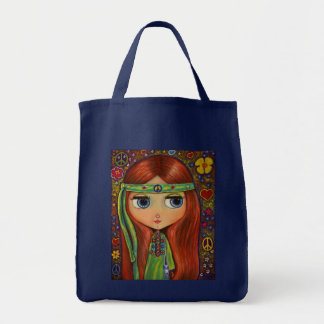 Peace Hippie Girl Tote Bag