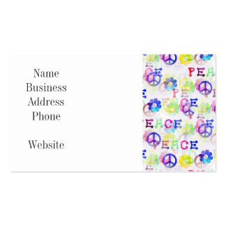 Peace Hippie Groovy Peace Sign Flowers Pattern Business Card Templates