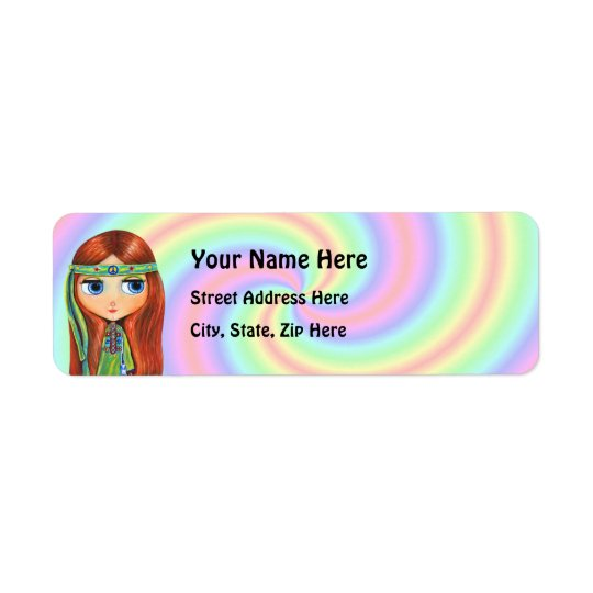 Peace Hippie Return Address Label