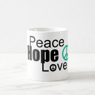 peace hope love basic white mug