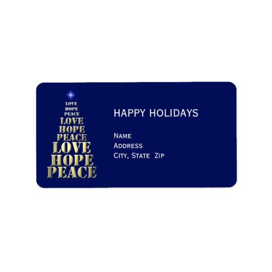 Peace, Hope, Love Christmas Return Address Label