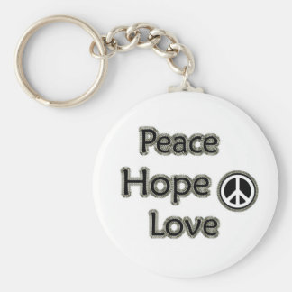 Peace Hope Love Basic Round Button Key Ring