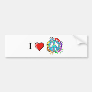 Peace: I love Peace and Planet Peek-A-Boo Bumper Sticker