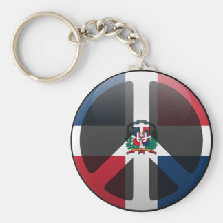 Peace in Dominican Republic Basic Round Button Key Ring