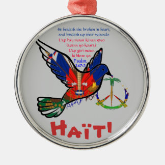 PEACE IN HAITI ROUND METAL CHRISTMAS ORNAMENT