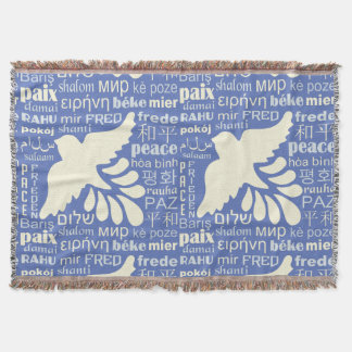 PEACE in languages custom color throw blank