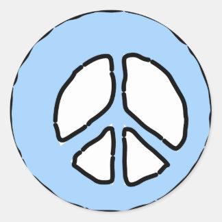 Peace in Light Blue Round Sticker