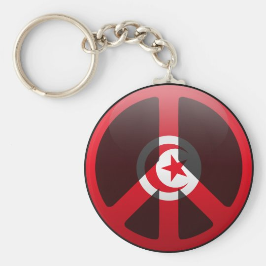 Peace in Tunisia Basic Round Button Key Ring