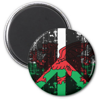 Peace In Welsh 6 Cm Round Magnet