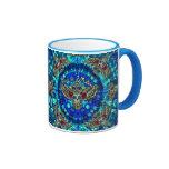 Peace in wisdom tie dye with sugar skull owl art. ringer mug