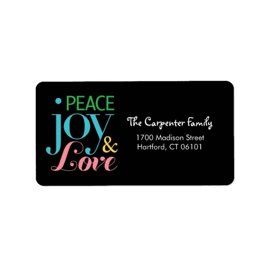Peace Joy, and Love Holiday Address Labels