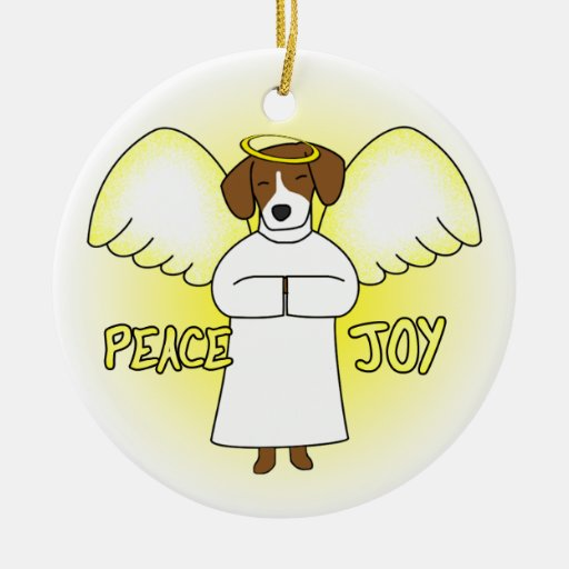 Peace Joy Angel Beagle Christmas Ornament