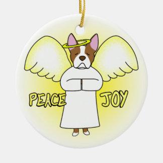Peace Joy Angel Boston Terrier Christmas Ornament