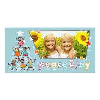 Peace & Joy Christmas Tree Kids Holiday Photo Card