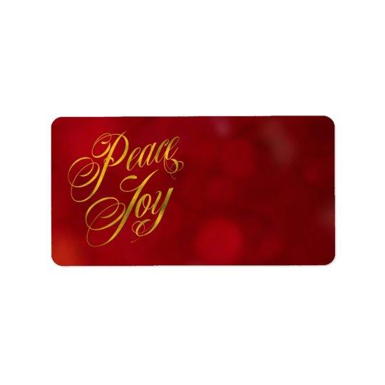 Peace Joy Faux Gold Foil Christmas Red Bokeh Text Label