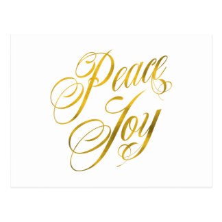 Peace Joy Faux Gold Foil Christmas Script Text Postcard