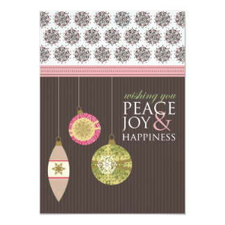 Peace Joy & Happiness Holiday Card (brown/pink) Personalized Invite