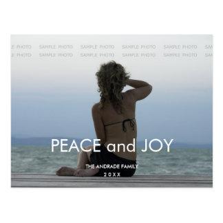 Peace Joy Holiday Photo Simple Christmas Greetings Postcard
