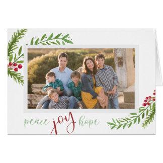 Peace Joy Hope Watercolor Foliage Photo Christmas Card