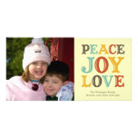 PEACE JOY LOVE block letter holiday photo greeting Picture Card
