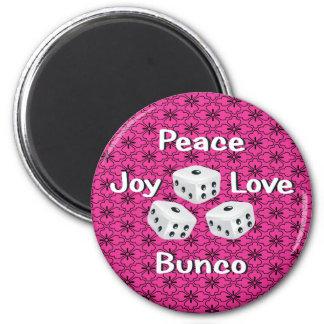 peace,joy,love,bunco 6 cm round magnet