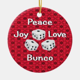 peace,joy,love,bunco christmas ornament