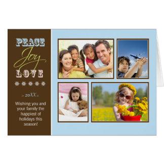 Peace-Joy-Love custom Family Holiday Card blue